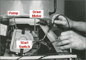 the ohmmeter should show an open circuit when each of the wires (terminals)  are checked  if not, the drive motor is bad and needs replacing
